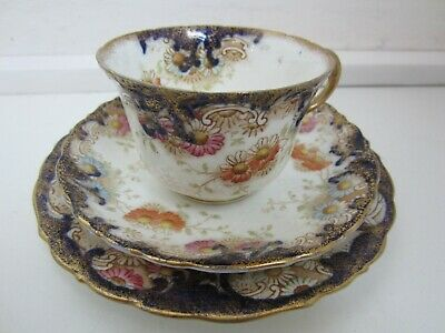 Vintage Antique Aynsley Blue Floral China Trio - Cup, Saucer, Side Plate • 8£