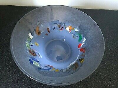Strathearn Perthshire Scottish Blue & Coloured Speckles Glass Flared Vase Bowl • 79.99£
