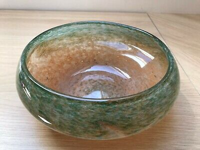 Vasart Perthshire Scottish Green & Brown Glass Posy Vase Bowl Signed • 74.99£