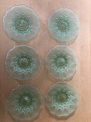 Vintage Pressed Glass Cake Plates, Green, Set Of 6 • 6£