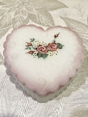 Vintage Fenton Frosted Jewelry Box Trinket Box Hand Painted Floral Pink Signed • 15.39£