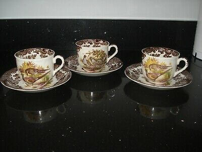 Royal Worcester Palissy Game Series 3 X Tea Cups And Saucers • 12£