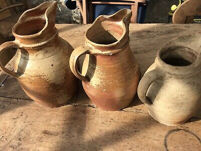 Antique Vintage French Stoneware Cider Pitcher Jug Rustic Country Farmhouse X3 • 50£