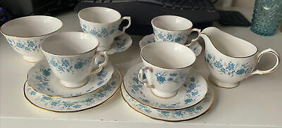 Vintage Colclough Bone China 4 Cups & Saucers 2 Plates, Milk/Sugar JugBraganza. • 12.50£