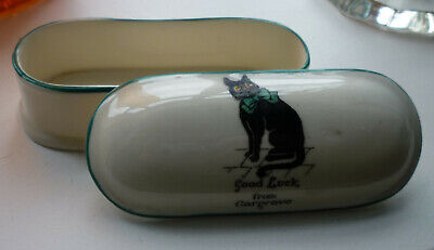 Arcadian Crested China Lucky Black Cat Trinket Box From Gargrave Yorkshire • 19.99£