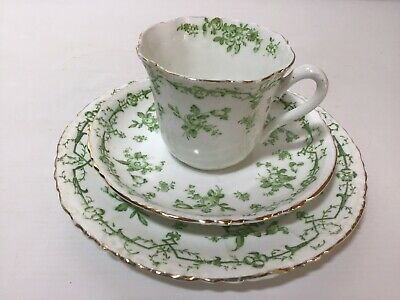 Antique Atlas Green And White Pretty Tea Cup Saucer And Plate Green And White • 4£