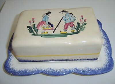 Faiencerie Pornic Bretagne Butter Dish / Cheese Plate Lidded Le Huelgoat • 9.50£