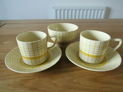 Gray's Pottery 'Sunbuff' Small Coffee Cans & Saucers With Matching Sugar Bowl • 10£