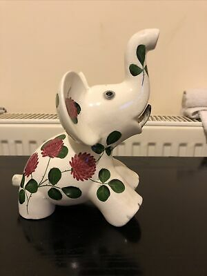 Large Plichta Pottery Elephant With Hand Painted Shamrock Pattern 20 Cm High • 24.99£