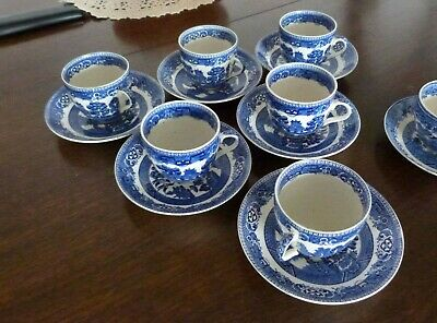 Vintage Alfred Meakin 1930,s Old Willow Set Of 6 Cups & Saucers • 57£