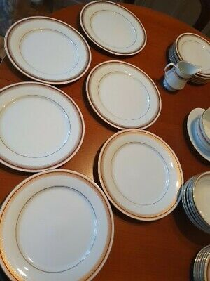 Noritake Dinner Service 2992 Donald Maroon 39 Piece White Gold Maroon Immaculate • 5.50£