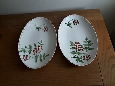 Midwinter Oval Plates With Red Berries. Vintage 60s. Christmas Looking Pattern • 9.50£