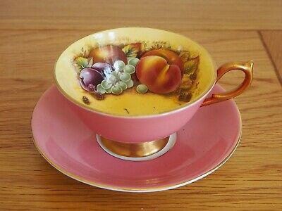 Aynsley Pink Orchard Fruit Cup And Saucer • 49.99£