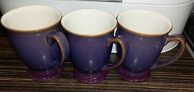 3 X Denby Storm Footed Plum Mugs. Pre Used -in Excellent Condition-no Flaws • 15£