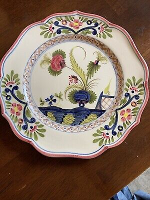 Vintage French Signed Faience Display Plate Hand Painted Initial H P 10 Inch • 20£