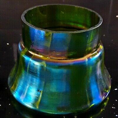 Art Nouveau Green With Blue Iridescence Wide Ribbed Squat Bowl Possibly Loetz • 39.90£
