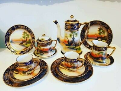 An Exquisite Hand Painted And Gilded Noritake Nippon Coffee Set • 90£