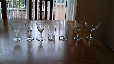 7 Antique Hand Blown Engraved Drinking Glasses 18th Century Georgian • 0.99£