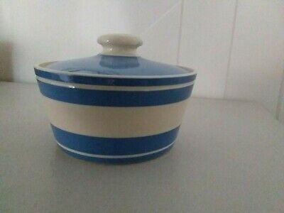 T.G. Green Cornishware Butter / Cheese Dish. Vintage. Blue. Round. VGC. • 15£