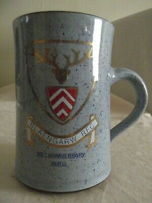Rugby Union Ewenny Blaengraw RUFC 50th Anneversary Welsh Pottery Tankard • 20£