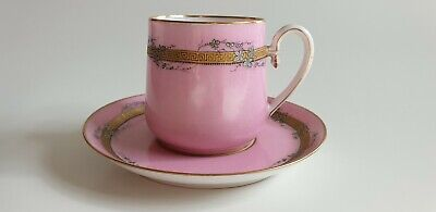 Antique Pink And Gilt Coffee Cup And Saucer  • 35£