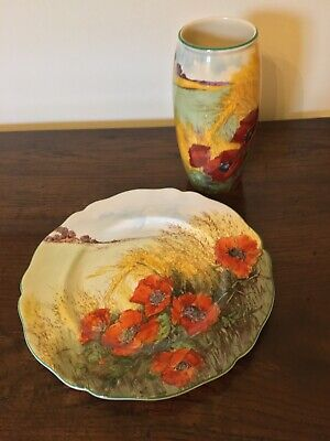 "Royal Doulton ""Poppies In A Cornfield"" Vase And Plate • 11.50£"