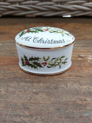 Vintage CROWN STAFFORDSHIRE 'Love & Best Wishes At Christmas' TRINKET POT • 9£