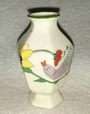Arcadian China Miniature Vase Tropical Birds & Floral Design Like Crested Ware • 2.99£