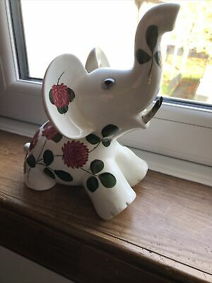 Large Plichta Pottery Elephant With Hand Painted Shamrock Pattern 20 Cm High • 19.99£