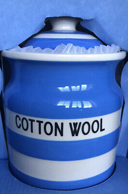 RARE Tg Green Cornishware Blue White Cotton Wool Jar With Lid New Boxed • 60£