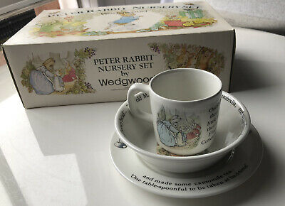 Wedgewood Peter Rabbit Nursery Set. Children's Plate, Bowl And Cup • 29.99£