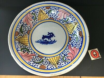 FAIENCE Tin Glazed Hand Painted Stoneware Large 31cm Antique Seafood Charger • 49.97£