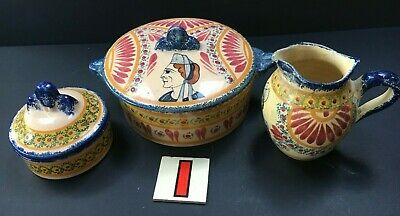 HR HenRiot Quimper FAIENCE Lidded Pot And Two Extras Small Jug / Later Pot • 24.97£