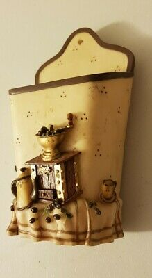 Old Rustic Kitchen Wall Pocket Holder Container Decor Coffee Grinder Vintage  • 13£
