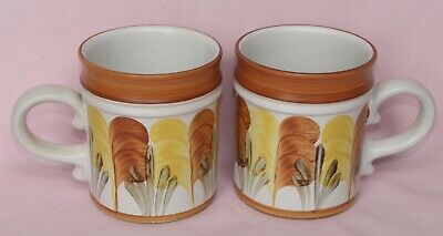 Denby Stoneware, 2x Mugs, Hand Painted, Feather Design, Trish Seal, 10cm Tall • 16£
