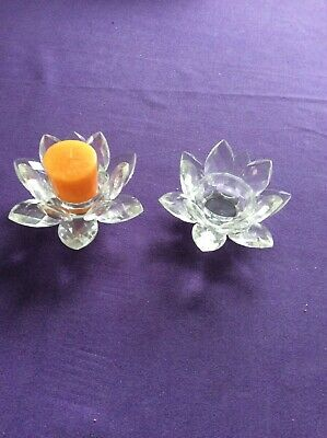 Crystal Cut Clear Lotus Flower Candle Tea Light Holder  no.   2 • 10£