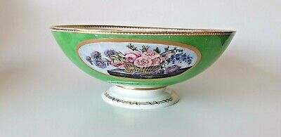 19th Century English Porcelain Fruit Bowl Green Hand Painted Flowers • 70£