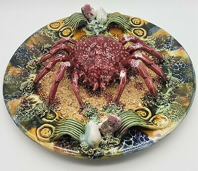 Vintage Majolica Pottery Large Crab Plate 30cm Diameter Portuguese Unmarked • 45£