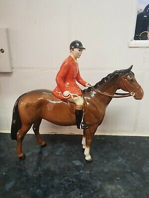 BESWICK HORSE HUNTSMAN ON HORSE  MODEL No. 1501 STYLE 2  BROWN GLOSS PERFECT • 120£