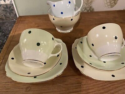 Windsor Polka Dot Tea Set For Two Harlequin Green Shabby Chic / Wedding • 19.50£