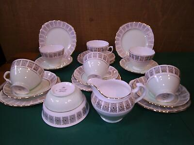 20 Piece Colclough Vintage Pale Green White Gilded China Teaset In Orig Post Box • 29.50£