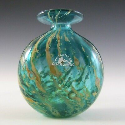 SIGNED & LABELLED Phoenician Vintage Blue & Yellow Glass Vase • 25£