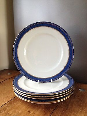 Set Of 6 Vintage Booths Rodney A8061 Pattern Blue & White Gilded Dinner Plates • 45£