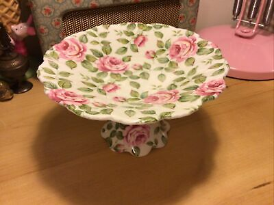 Vintage Queens Cottage Rose Porcelain Small Cake Stand Very Pretty • 14.99£