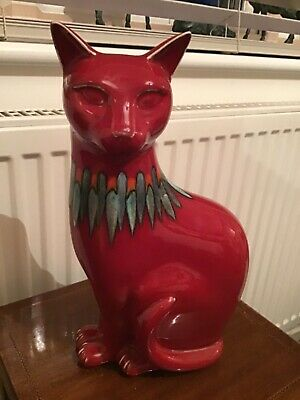 Poole Pottery Flame Red Cat • 135£