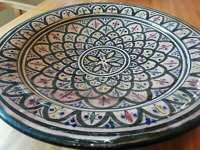Large Moroccan Bowl Plate Serving Platter Wall Hung Decorative Pottery • 22.50£