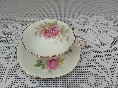 Mismatched Paragon Saucer And Cup Pale Green Pink Rose • 30£