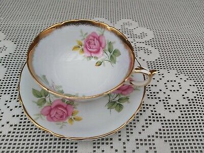 Paragon Mint Blue Ground Yellow & Pink Roses Cup And Saucer • 60£
