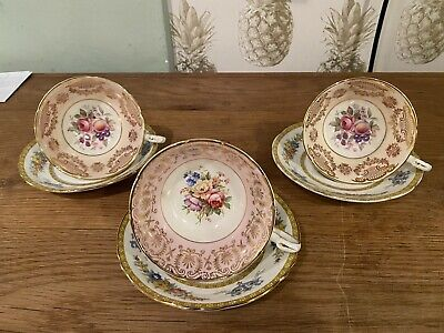 Vintage Paragon China Tea Set For Three ,cups & Saucers RARE • 50£
