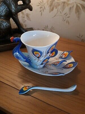 Beautiful  Peacock  Cup Saucer  And Spoon  • 25£